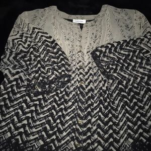 Calvin Klein blouse green and black print size 1X